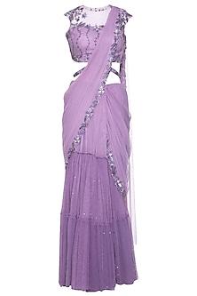 Lilac embroidered saree set by K-ANSHIKA Jaipur
