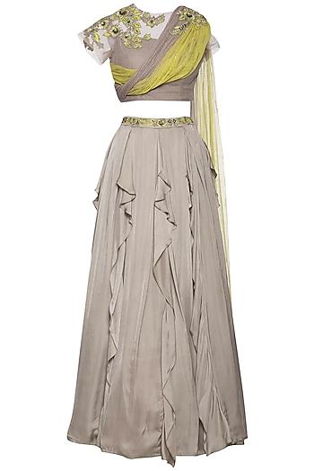 Grey embroidered lehenga skirt with drape blouse by K-ANSHIKA Jaipur