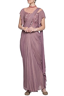 Mauva embroidered saree gown by K-ANSHIKA Jaipur