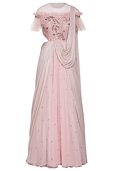 Onion pink embroidered saree gown by K-ANSHIKA Jaipur