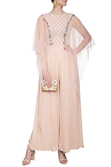Apricot embroidered jumpsuit by K-ANSHIKA Jaipur
