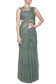 Moss green embroidered saree set by K-ANSHIKA Jaipur