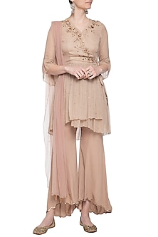 Beige embroidered wrap top with pants by K-ANSHIKA Jaipur