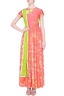 Watermelon Color Floral Applique Marble Dyed Anarkali Set by K-ANSHIKA Jaipur