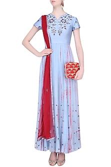 Grey and Red Shibori Dyed Sequinned Anarkali Set by K-ANSHIKA Jaipur
