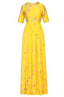 Mango Yellow Floral Embroidered Marble Dyed Anarkali Set by K-ANSHIKA Jaipur