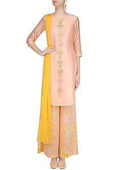Peach Gota Patti Work Kurta Set with Palazzo Pants by K-ANSHIKA Jaipur