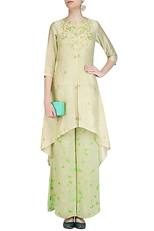 Off White Gota Patti Work C Cut Kurta with Green Palazzo Pants by K-ANSHIKA Jaipur