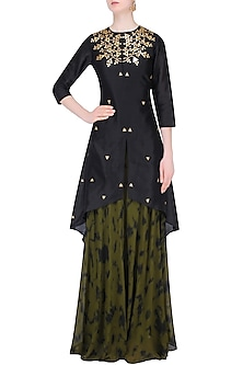 Black Gota Patti Work C Cut Kurta with Skirt by K-ANSHIKA Jaipur