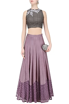 Grey Floral Apllique Work Crop Top and Lilac Skirt Set by K-ANSHIKA Jaipur