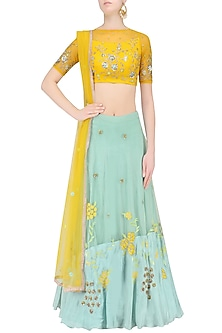 Mustard Yellow Floral Embroidered Crop Top and Aqua Blue Skirt Set by K-ANSHIKA Jaipur