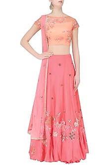 Peach Floral Embroidered Crop Top with Rose Pink Skirt by K-ANSHIKA Jaipur