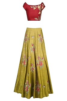 Red Floral Embroidered Crop Top with Olive Green Skirt by K-ANSHIKA Jaipur