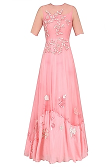 Pale Pink Floral Embroidered Flared Gown by K-ANSHIKA Jaipur