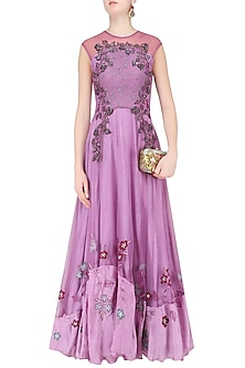 Purple Floral Embroidered Flared Gown by K-ANSHIKA Jaipur