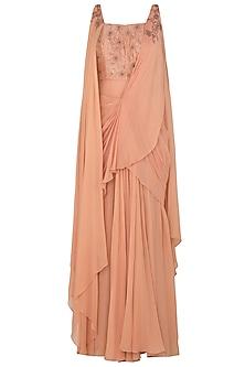 Dusty Peach Draped Sari Gown with Matching Peach Blouse by K-ANSHIKA Jaipur
