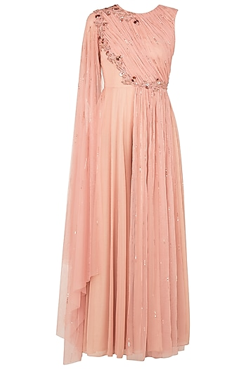 Peach One Sided Draped Net Jump Suit by K-ANSHIKA Jaipur
