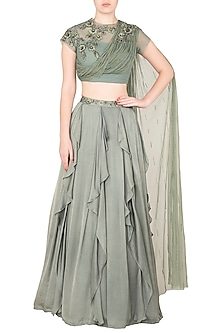 Moss Green Ruffled Skirt with One Sided Gathered Blouse by K-ANSHIKA Jaipur