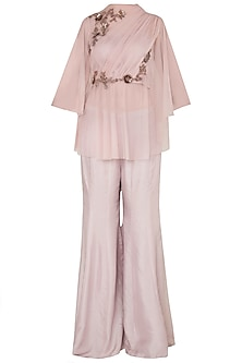 Onion Pink Net Draped Top with Flared Pants by K-ANSHIKA Jaipur