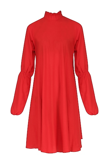 Red Ruffled Collar Dress by Knotty Tales