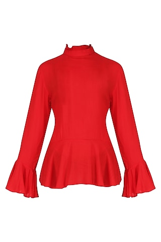 Red Basic Peplum Top by Knotty Tales