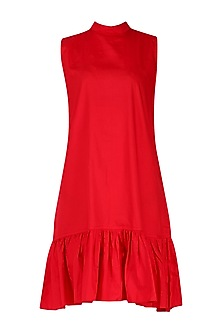 Red Ruffled Hem Dress by Knotty Tales