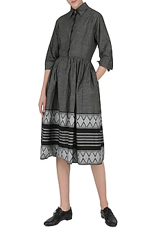 Grey Pleated Printed Dress by Knotty Tales