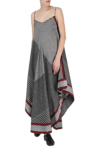 Grey Asymmetric Geormetric Pattern Dress by Knotty Tales