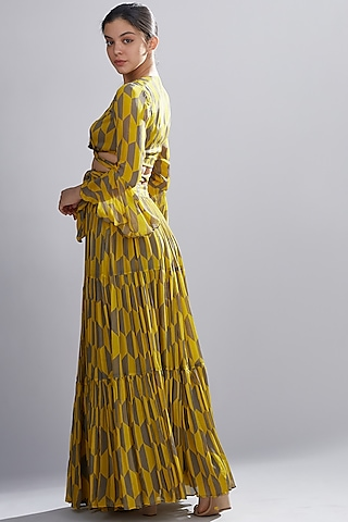 Mustard & Grey Printed Skirt by Koai