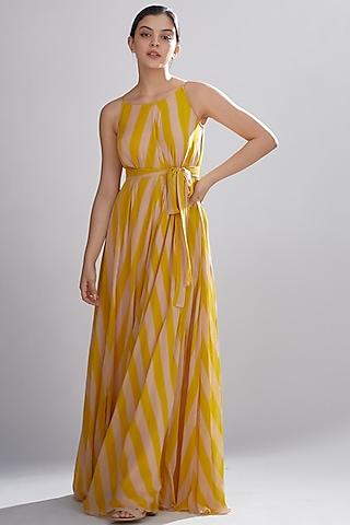 Pink & Mustard Printed Maxi Dress by Koai