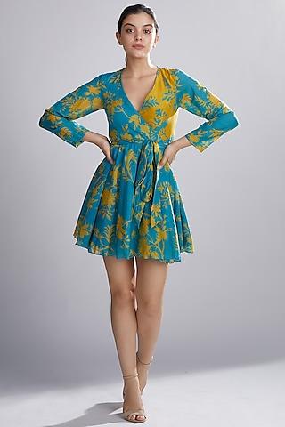 Sky Blue & Mustard Printed Wrap Mini Dress by Koai