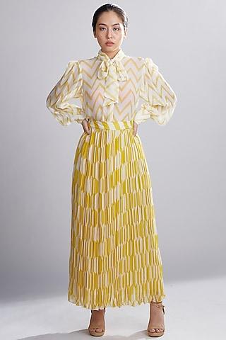 Cream & Yellow Printed Skirt by Koai