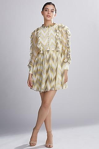 Cream, Yellow, & Grey Frilled Midi Dress by Koai