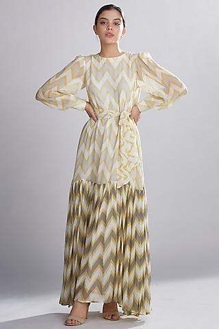 Cream, Yellow, & Grey Maxi Dress by Koai