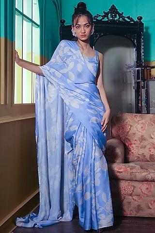Powder Blue & White Printed Saree Set by Koai