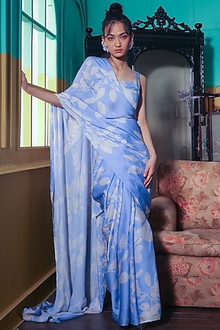 Powder Blue & White Printed Bustier by Koai