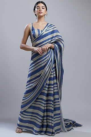 Cobalt Blue & White Printed Saree Set by Koai