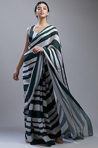 Dark Green & White Printed Saree Set by Koai