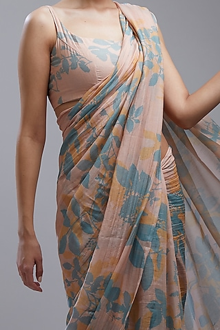 Peach Printed Saree Set by Koai