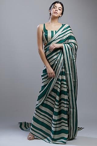 Green & Beige Printed Saree Set by Koai