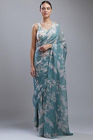 Powder Blue Printed Saree Set by Koai