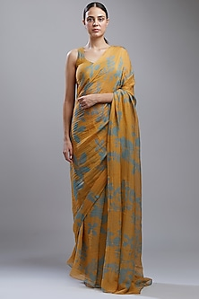 Mustard Printed Saree Set by Koai