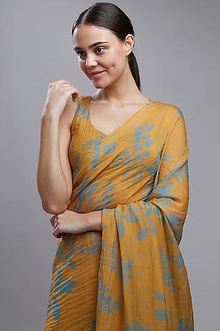 Mustard Printed Saree Set by Koai
