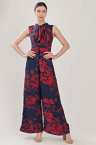 Blue & Red Floral Jumpsuit by Koai