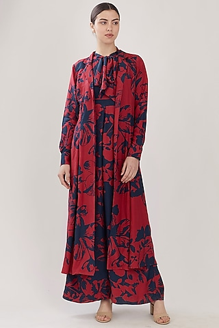 Blue & Red Floral Cape by Koai