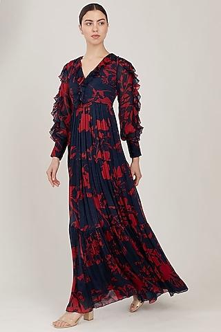 Blue & Red Floral Maxi Dress by Koai