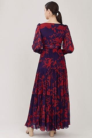 Purple & Red Floral Maxi Dress by Koai