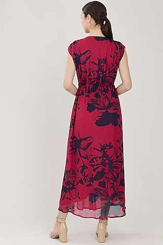 Blue & Red Kaftan Dress With Slip by Koai