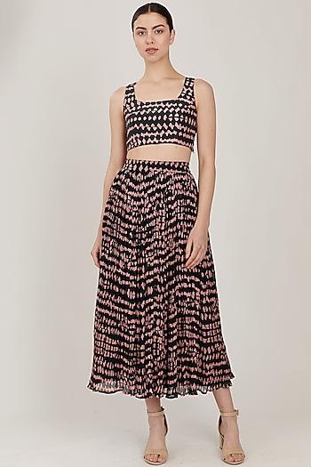 Dark Green & Pink Abstract Skirt by Koai