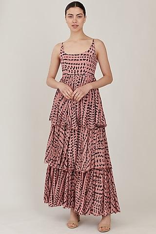 Pink & Dark Green Abstract Dress by Koai